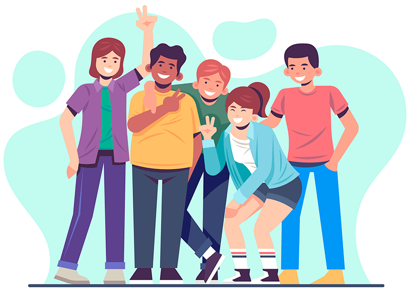 Illustration: Group of people posing for photo
